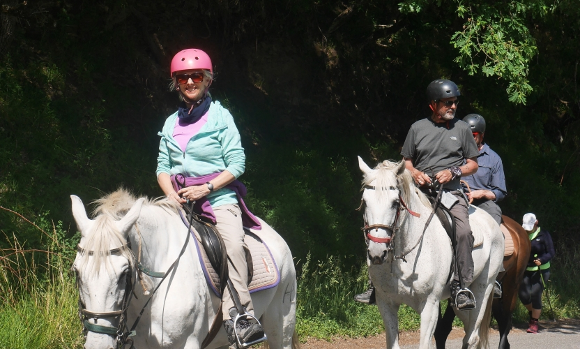 Debbie McGee in the Saddle on the Camino
