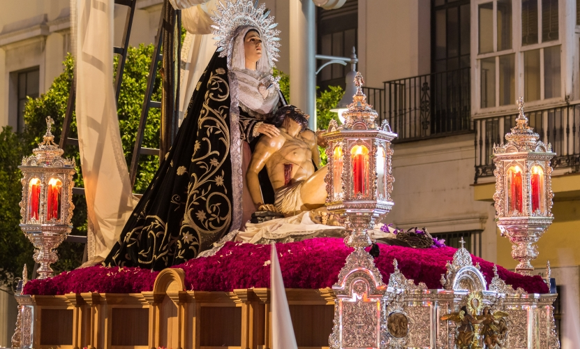 Effigies of the Virgin Mary & Jesus Christ Are Processed During Holy Week