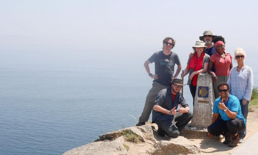 BBC Pilgrimage Team at the 0 km Waymarker