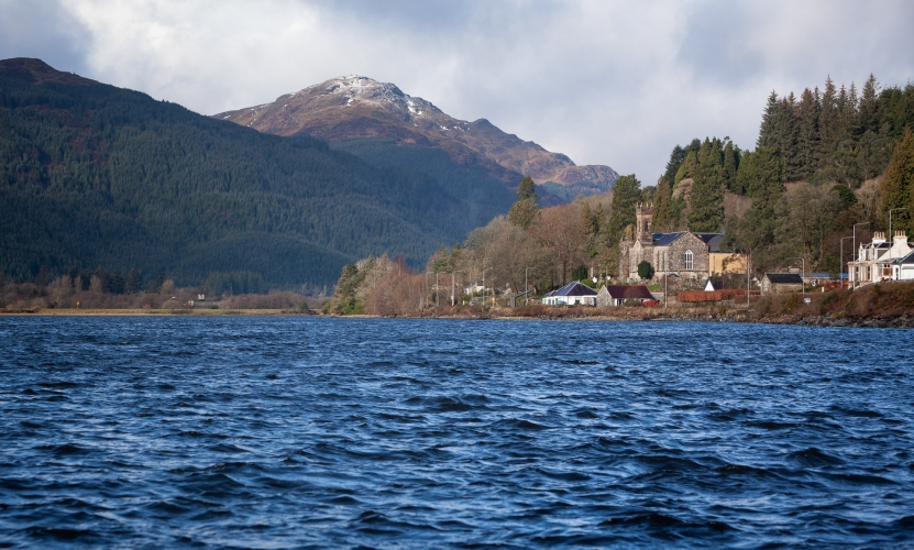 The Parish Church of Kilmun on the banks of the Holy Loch in Argyll, Scotland