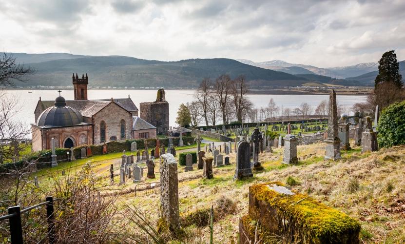The Church of St Munn in the parish church of Kilmun, with views across the Holy Loch