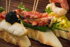 The Famed Padron Peppers as Tapas with Octopus
